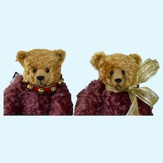 "Regis & Roxy, 17"" OOAK Pair, Plum & Gold Mohair Art Bears"