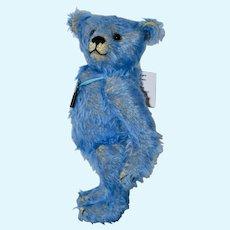 Old Blue, Mohair Art Bear OOAK, w/ Antique Key