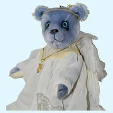 Sky Blue Angel Bear, OOAK Mohair Art Bear