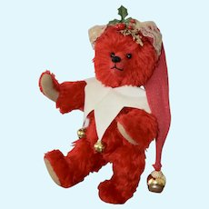 Cherry Beary Clown, Pretty Red Mohair Artist Bear