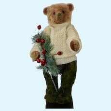 """Byrom, 10"""" Slender Mohair Art Bear in Scottish Sweater"""