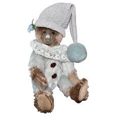 Mocha Ice, OOAK Artist Jester Bear, Blue & Coco Mohairs