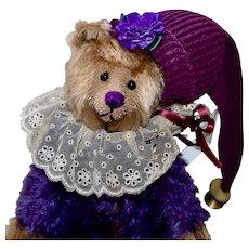 """Purple Pansy, OOAK 11"""" Artist Jester Bear"""