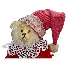 Red & Gold Mohair Jester Bear, OOAK