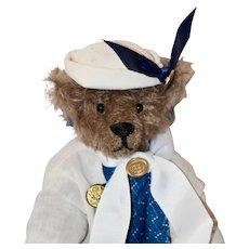 """Chanel, 9"""" OOAK Brown Mohair Nurse or Sailor Bear"""