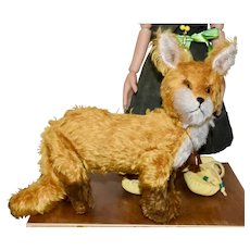 Foxy, OOAK Red and White Mohair Jointed Fox