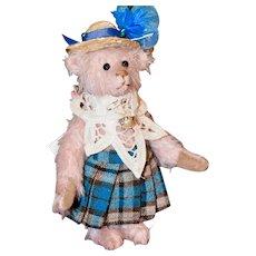 "Priscilla, 6"" Pink Mohair Jointed Artist Bear"