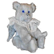 "Aurora, 9.5"" OOAK Silver-Blue Mohair Artist Angel Bear"