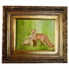 Pair Framed Original Oil Paintings of Foxes by Artist