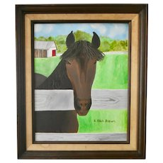 Truffles, Framed Oil Painting of Horse, Signed by Artist