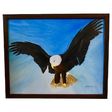 Eagle in Flight, Original Framed Oil Painting, Signed