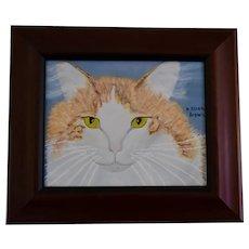 Yiddi, Orange & White Cat Framed Oil Painting