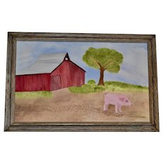 Framed Folk Oil Painting, Red Barn with Pig
