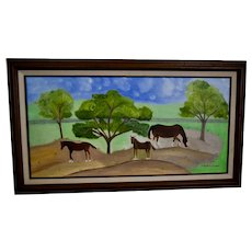 Pleasant Pastures, Oil Painting of Horses, Framed