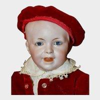 "Adorable 13"" SFBJ 235 Character Boy Child in Red Velvet Suit"
