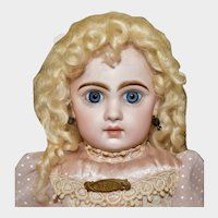 "20"" Tete Jumeau w/Closed Mouth & Big Blue Glass PW Eyes"