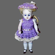 "Pretty 5.5"" Artist All Bisque Doll in Lavender"