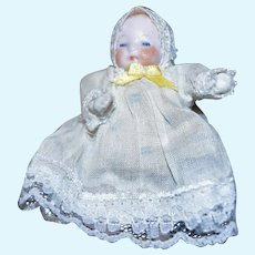 "2.5"" All Bisque Baby, Jointed Arms & Legs, Lacy Gown"