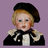 """13"""" SFBJ 251 Character Child in Black Velvet Suit w/ French Leather Boots"""
