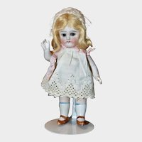 """7"""" All Bisque Doll w/ Glass Sleep Eyes, Excellent Condition"""