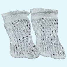 Vintage White Doll Socks, Freshly Washed