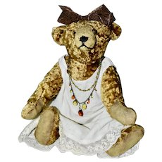 """30s Wool Silk French 15"""" Bear Dressed in Vintage Gown and Beads"""