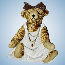 "30s Wool Silk French 15"" Bear Dressed in Vintage Gown and Beads"