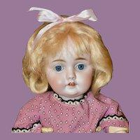 """13"""" Kestner 143 w/Blue Sleep Eyes, Orig. Kestner Mohair Wig"""