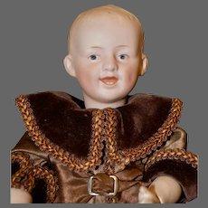 """Adorable 12.5"""" Gebr. Heubach 7604 Character Boy Child in Brown Velvet"""