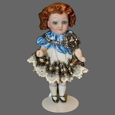 """4.5"""" All Bisque #83-25 Character w/ Blue Glass Eyes"""