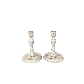 Herend Rothschild Bird candle holders   hand painted porcelain