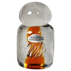 Blenko Glass Paperweight with Orange Air-twist Interior Element, Model 68D