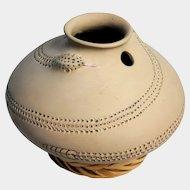 MATA ORTIZ Pottery, Signed Snake Effigy Terra Cotta Olla from Dora Quezada, c1985