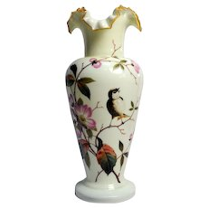 Continental Victorian Bristol Opaque Fluorescent Glass Mantle Vase - FLORAL & SONGBIRD Enameled Decor