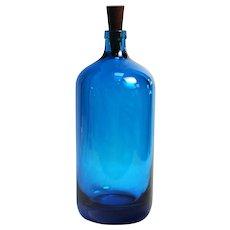 Vintage Czechoslovakian Cobalt Glass Bottle