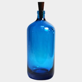 Vintage Czechoslovakian Cobalt Glass Bottle