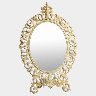 Virginia Metal Crafters Large Cast Iron Ornate Oval Victorian Styled Beveled VANITY MIRROR #14-3