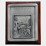 1997 Pebble Beach Concours Dash Plaque, Stanley Steamer, Ltd. Ed. Mounted on Walnut