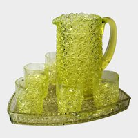 Gillinder Glass EAPG Daisy & Button Canary Vaseline Water Set & Triangular Tray