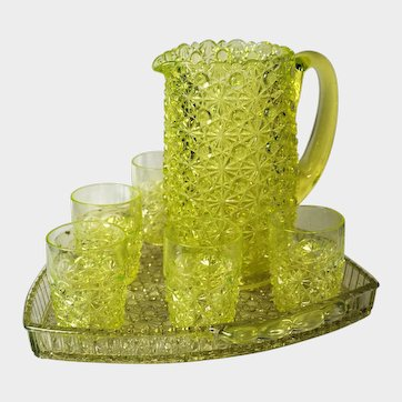 Gillinder Glass EAPG Daisy & Button Canary Water Set with Triangular Tray