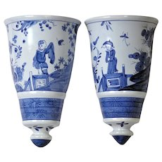 Colonial Williamsburg Blue & White Delft Chinoiserie Wall Pockets