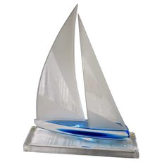 Modernist Lucite Sailboat Model on Display Stand, Artist Signed