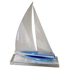 Modernist Lucite Sailboat Model on Display Stand, Artist Signed