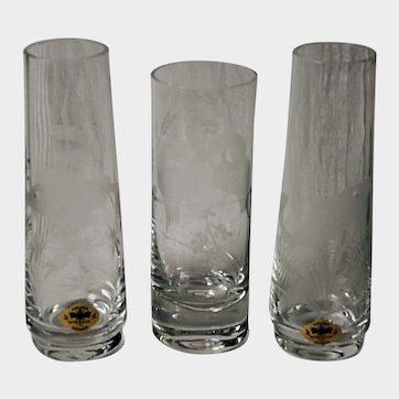 Kisslinger Kristall-Glass Bud Vases (3) with Naturalistic Motif