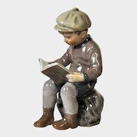 Dahl-Jensen Figurine - Boy Sitting, Reading Book - #1096