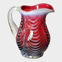 FENTON ART GLASS - Cranberry Opalescent Creamer Drapery Pattern with Empress Overlay