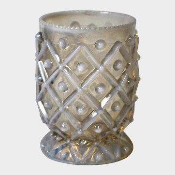 EAPG Aetna Glass Opalescent Hobnail in Square Spooner