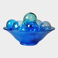BLENKO Glass Blue Bubbles with Northwood Celeste Blue Stretch Glass Bowl