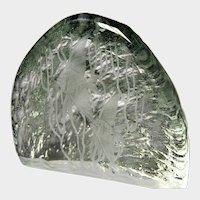 ASEDA Art Glass Aquarium Iceberg Paperweight Sculpture by J. Johnsson