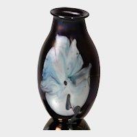 Josh Simpson Art Glass Floral Paperweight Vase c1978
